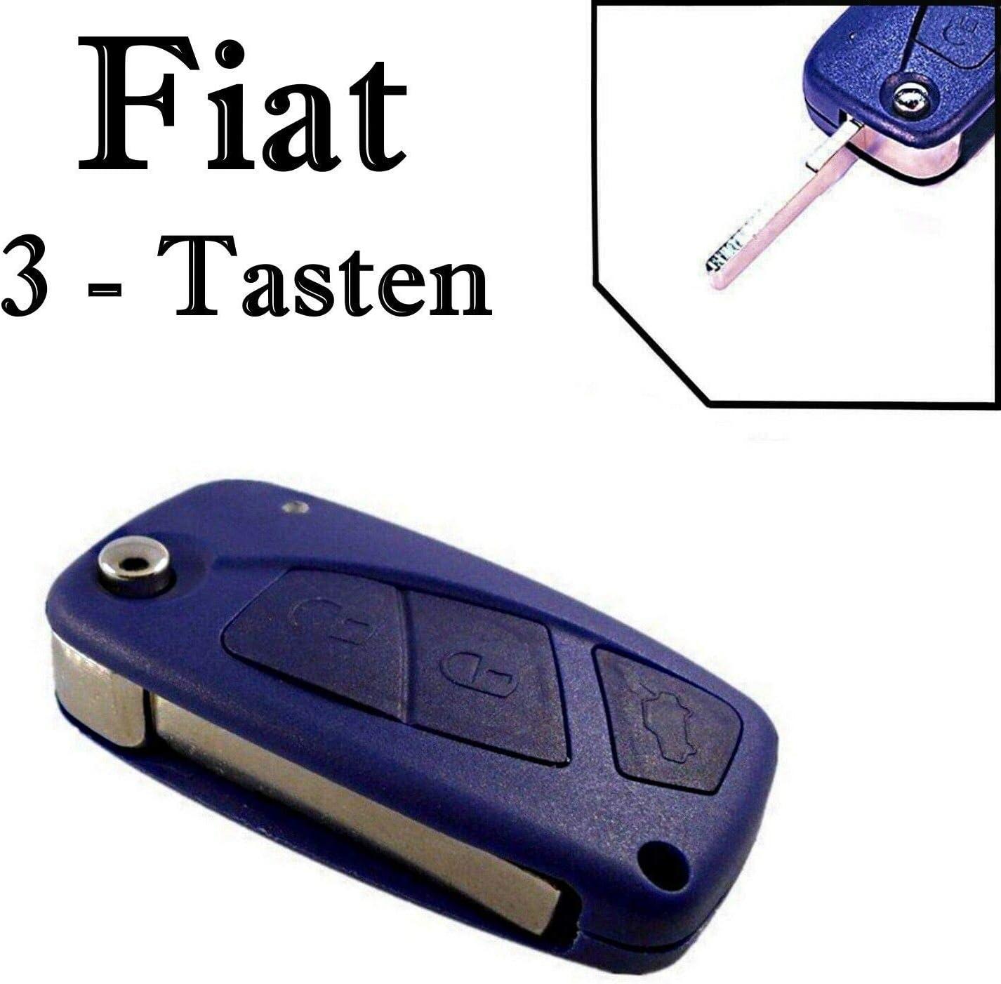 1 Stück Funkschlüssel Ersatz Klappschlüssel Gehäuse 3 Tasten Fernbedienung Mit Rohling Fiat Ks07 Neu Reparatur Hülle Auto
