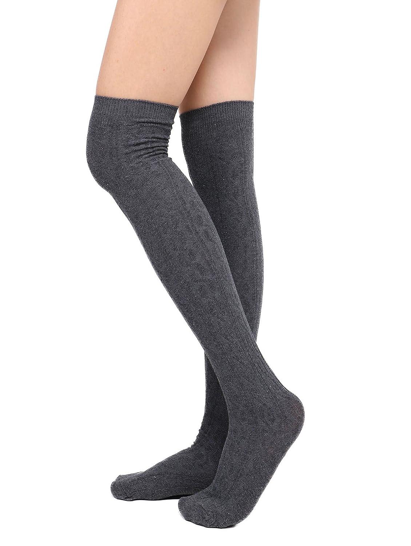 Dark Grey Womens Long Stockings Over Knee Thigh High Socks LeggingsOne,Two,Three Pairs