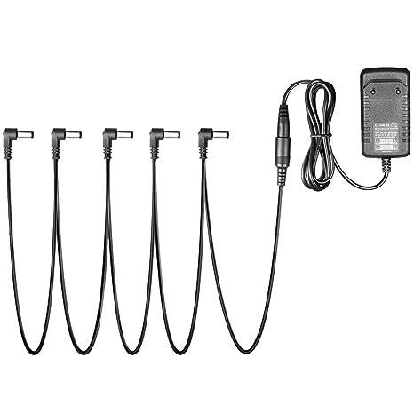 Neewer Adaptador Pedal portátil fuente 9V DC 1A a 5 manera Daisy cadena cuerdas para Pedal
