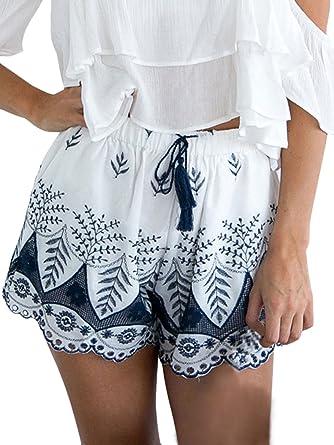 Mujer Shorts Verano Elegantes Vintage Boho Bordadas De Flores Moda Casuales Playa Lindo Chic Pantalones Cortos Pantalon Corto Amazon Es Ropa Y Accesorios