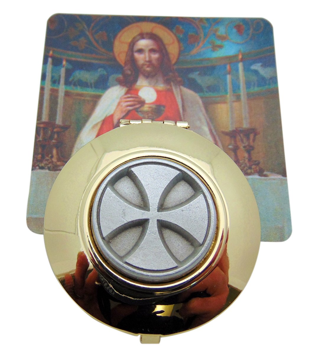 Maltese Cross Embossed Solid Polished Brass Catholic Pyx with Holy Card