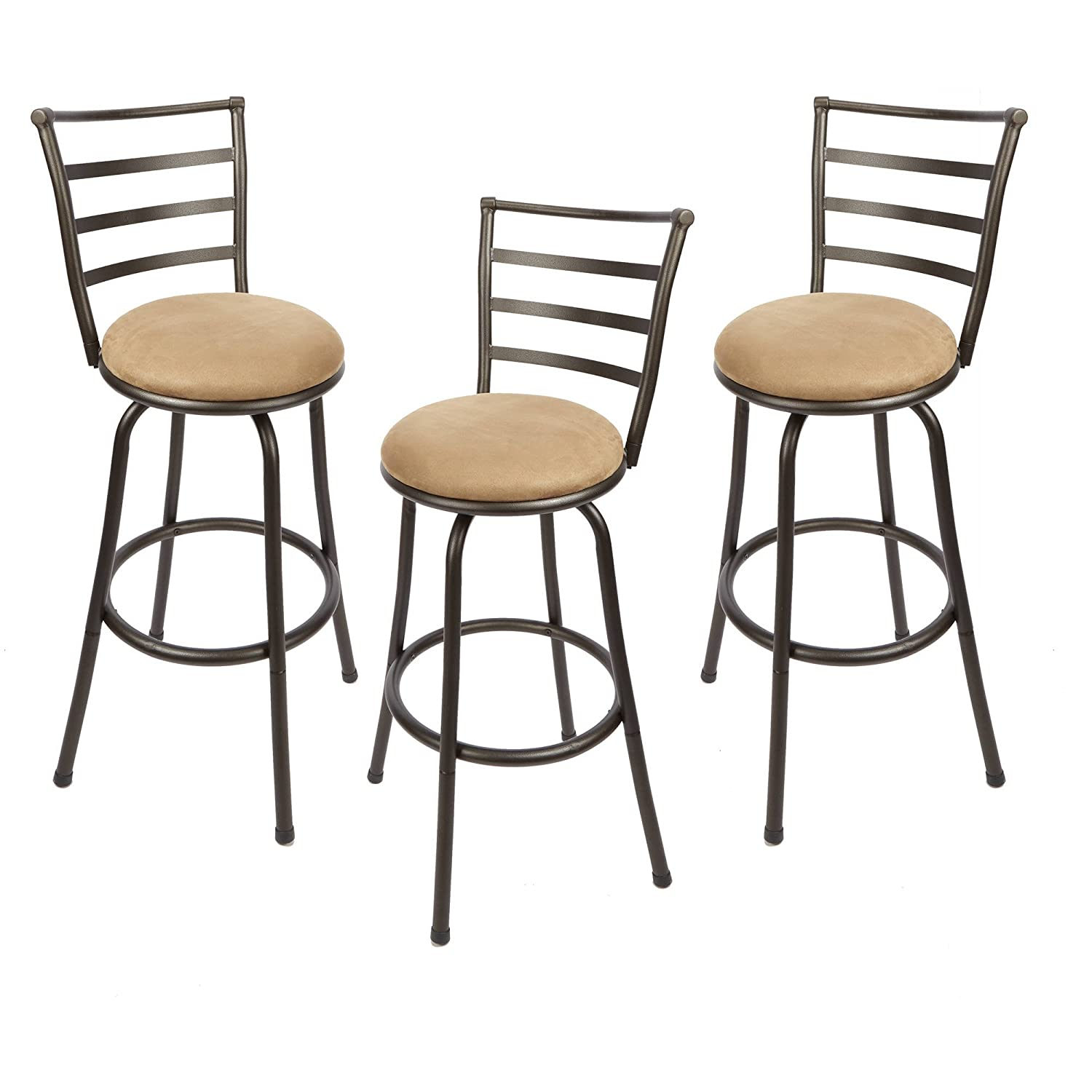 Adjustable-Height Swivel Barstool, Hammered Bronze Finish, Set of 3
