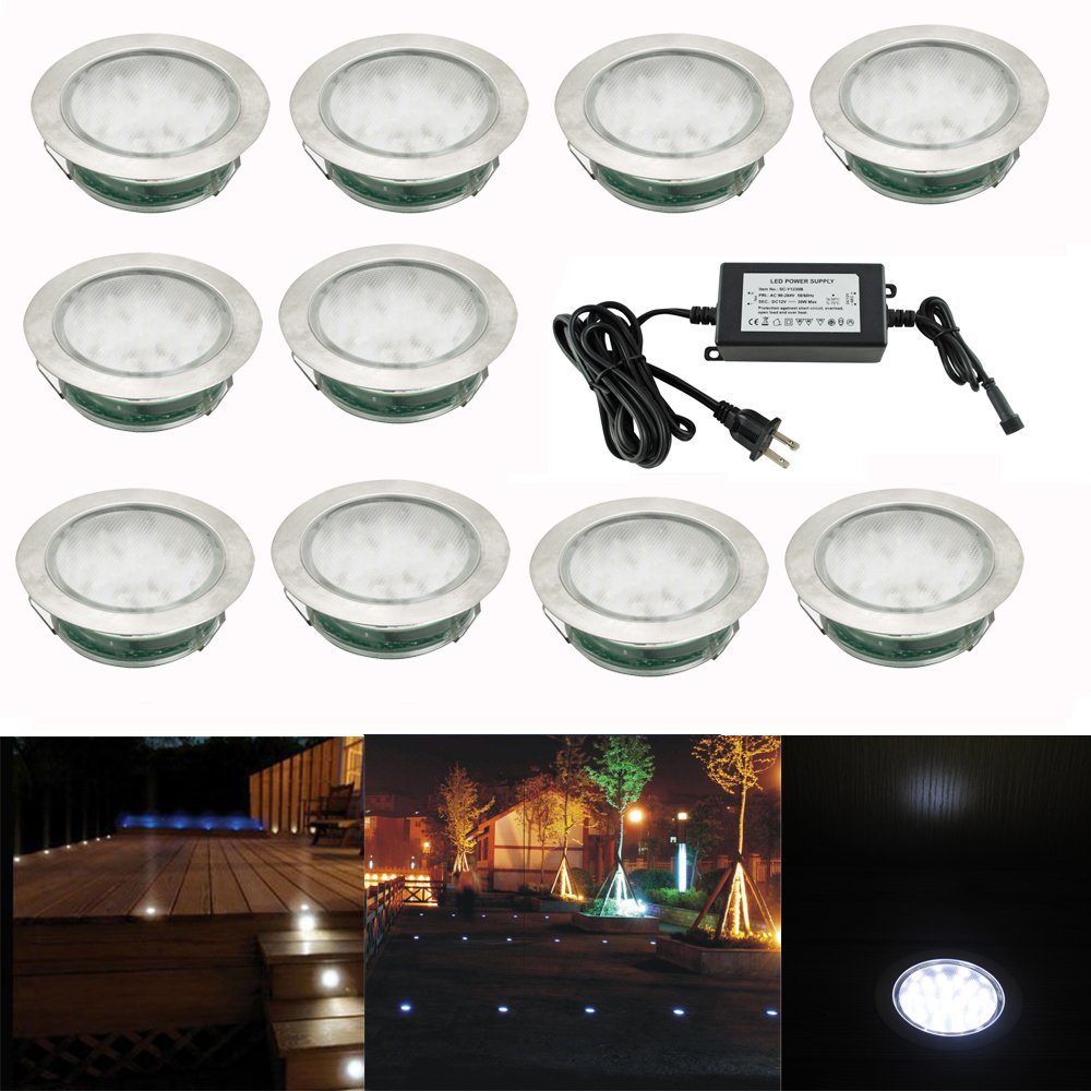 Pack of 10, Outdoor Waterproof 30 SMD3528 LED Deck Light Kit Garden Decoration Lamps Stainless Steel Recessed Pathway Stair Step Landscape LED Lighting , Cold White