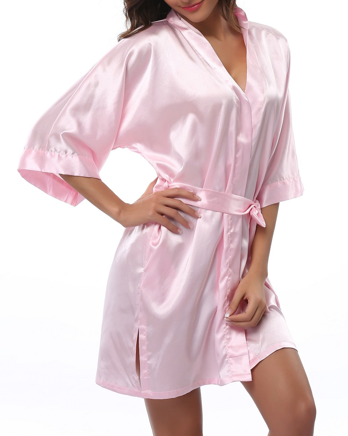FADSHOW Women's Satin Robes Short Wedding Robes for Bridal Party,Light Pink,Large