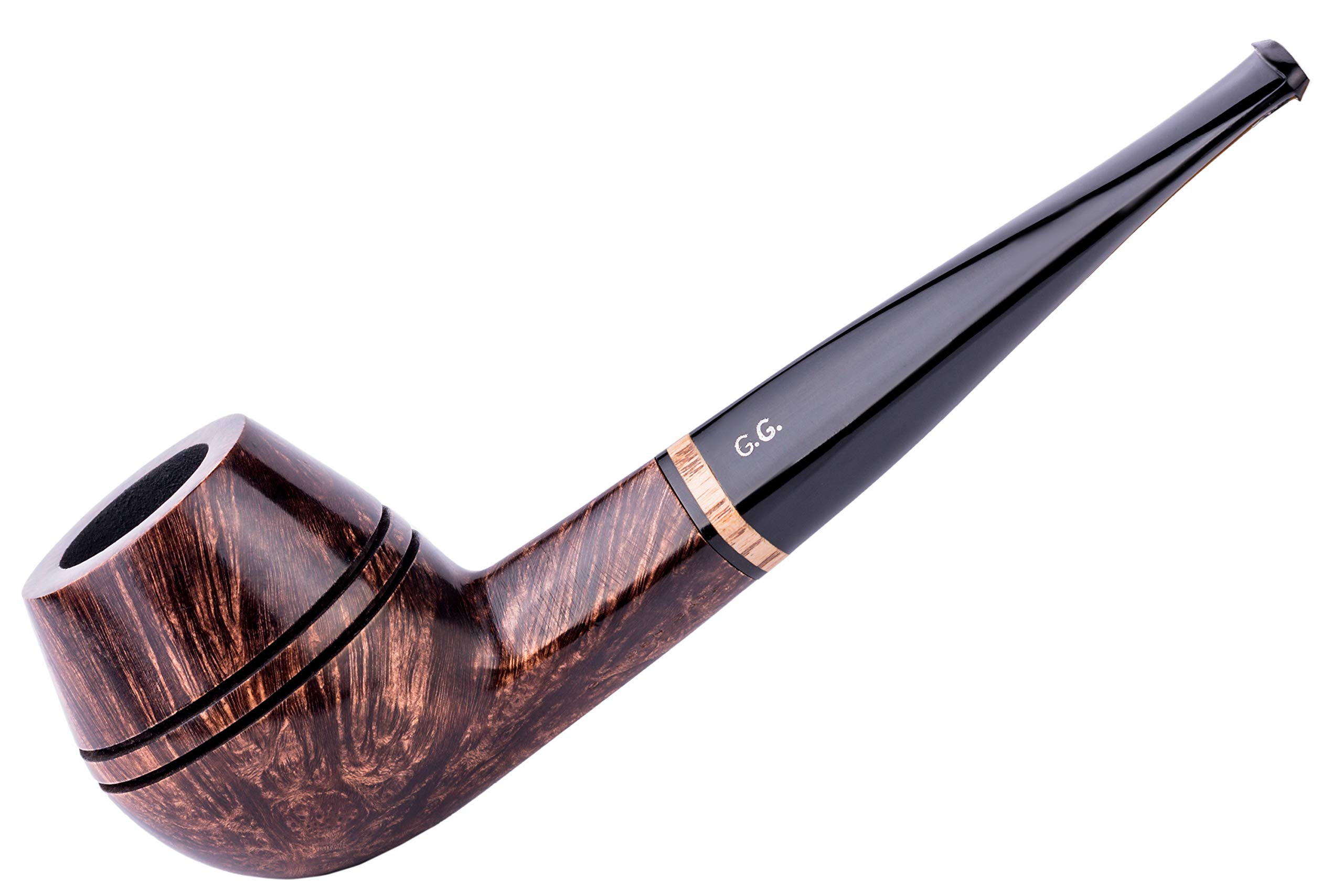 Watson&G.G. - BRIAR Tobacco Smoking pipe - Bulldog - Hand Made, Smooth ( 9mm filter) + Branded Pouch (special edition for Watson) (Dark Brown)
