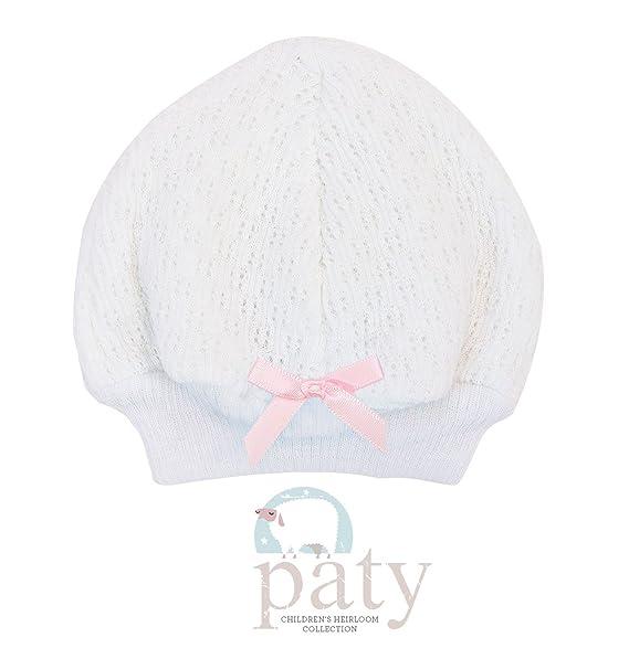 Amazon.com  Paty Inc Newborn Baby Girls White Beanie Hat with Pink ... c3beb4becf7