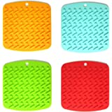 The Seventh Silicone Pot Holder, Trivet Mat, jar Opener, Non-slip Garlic Peeler, Durable, Flexible, Spoon Rest, Tableware Pad Coasters, Heat Resistant Hot Pads, Set of 4