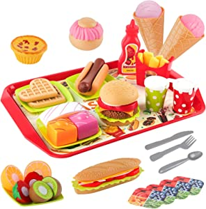 D-FantiX Play Fast Food Toys Set, 48Pcs Kids Fake Food Playset Burger Sandwich Hotdog French Fries Cutting Fruits Pretend Kitchen Restaurant with Tray for Toddlers Boys Girls