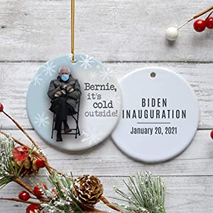 Inauguration Bernie Sanders It's Cold Outside! Christmas Ornament