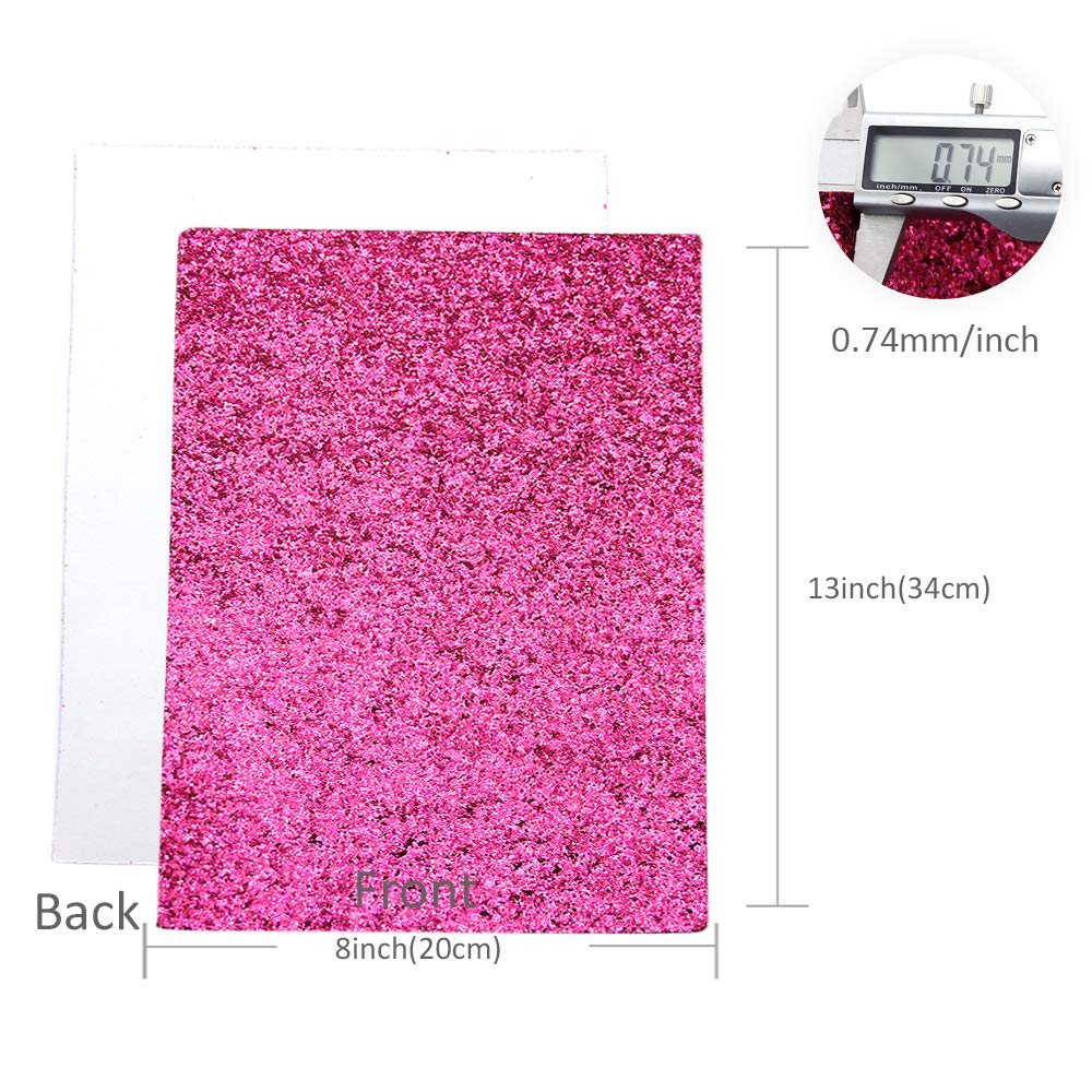 David accessories Glitter Sequins Fabric Faux Leather Sheets Synthetic Leather Fabric 11 Pcs 8'' x 13'' (20 cm x 34 cm) Assorted Colors Thick Canvas Back Craft for DIY Earrings Making (11 Color) by David accessories (Image #3)