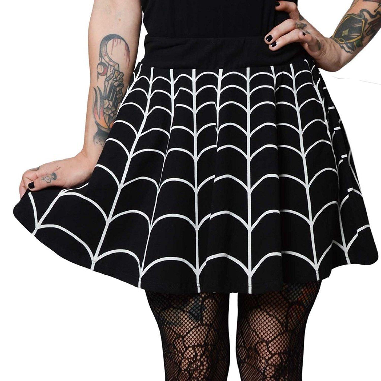 Womens Kreepsville 666 Web White Skater Skirt