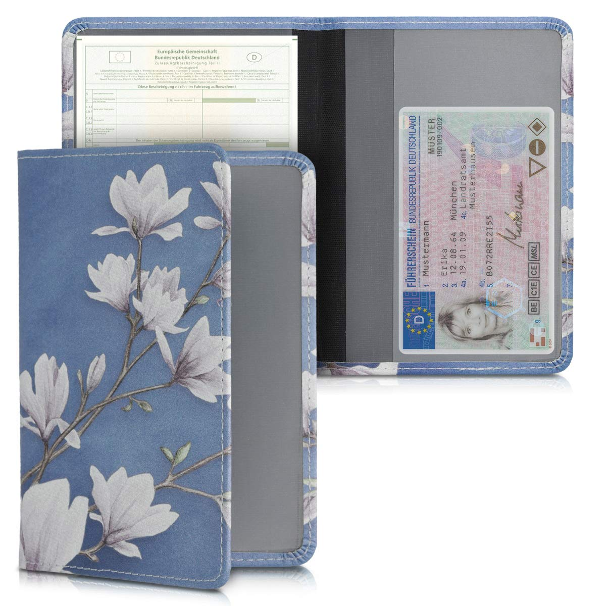 PU Leather with Design Car Document Holder for Vehicle Documents and Cards kwmobile Registration and Insurance Holder Blue//Grey//Black