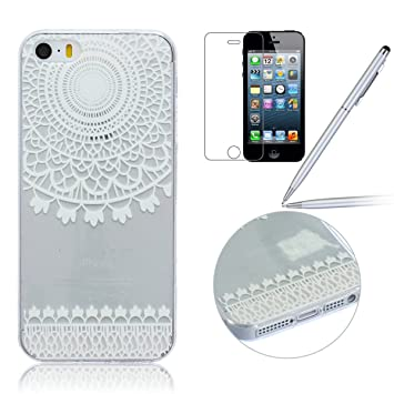 iPhone 4 Funda,iPhone 4S Carcasa - Felfy iPhone 4/4S Simple and Elegant Lace Campanula Wind Chime Patrón Transparente Claro Cristal Diseño Ultra Fina ...