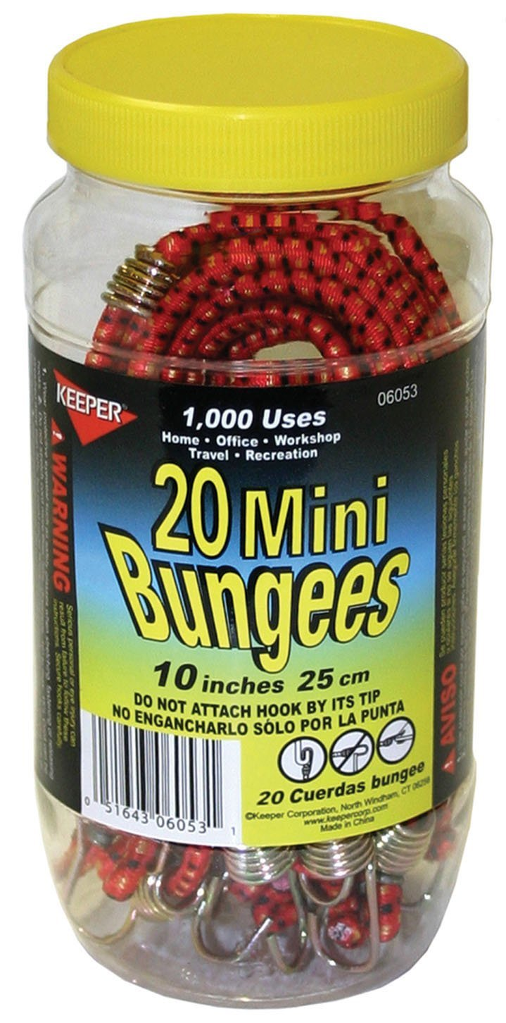 Keeper Corporation 06053-10 Mini Bungee Cord Jar 20 Count 1 Pack