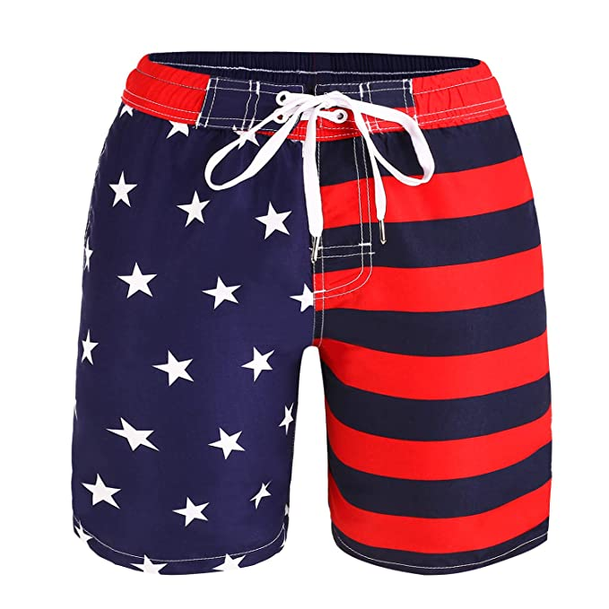 0b95064d88 Kute 'n' Koo USA American Flag Big Boy's Swim Shorts, Patriotic Swim Trunks