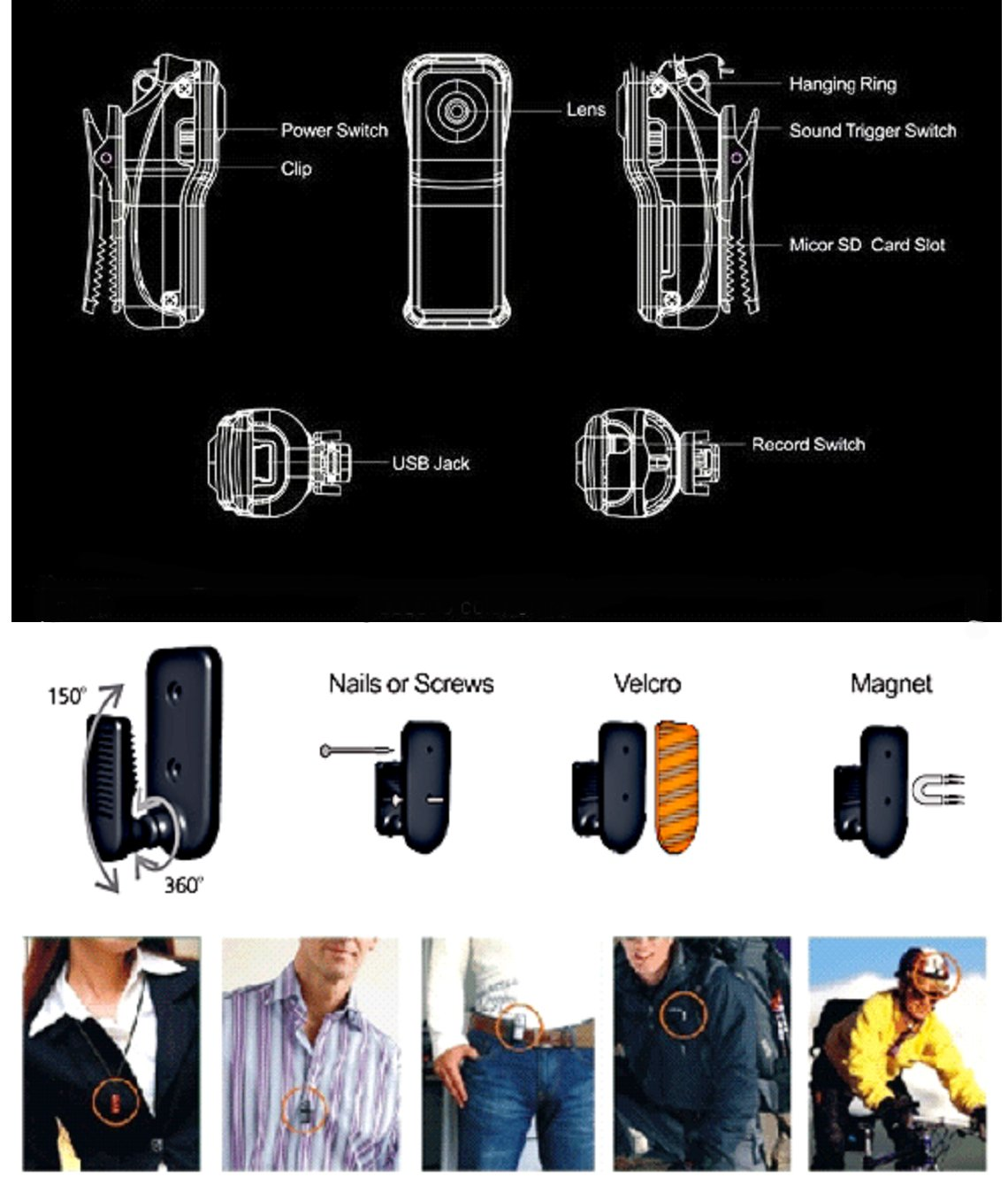 SecuVox Sound Activated Thumb Size Camcorder with Belt Clip Kits