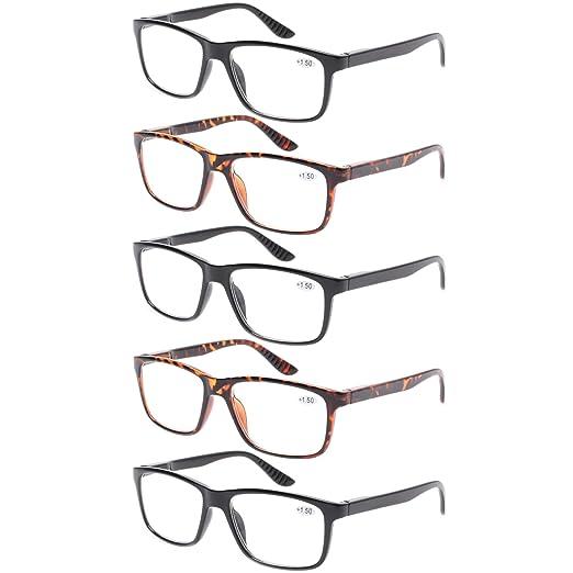 d5aed8c0bbc Kerecsen 5 Pack Spring Hinge Reading Glasses Fashion Men Large Frame Readers  (3Black 2Tortoise