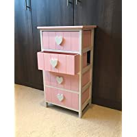 Pink & White Chest of Drawers Bedside Table Nightstand Girls Princess Heart Unit