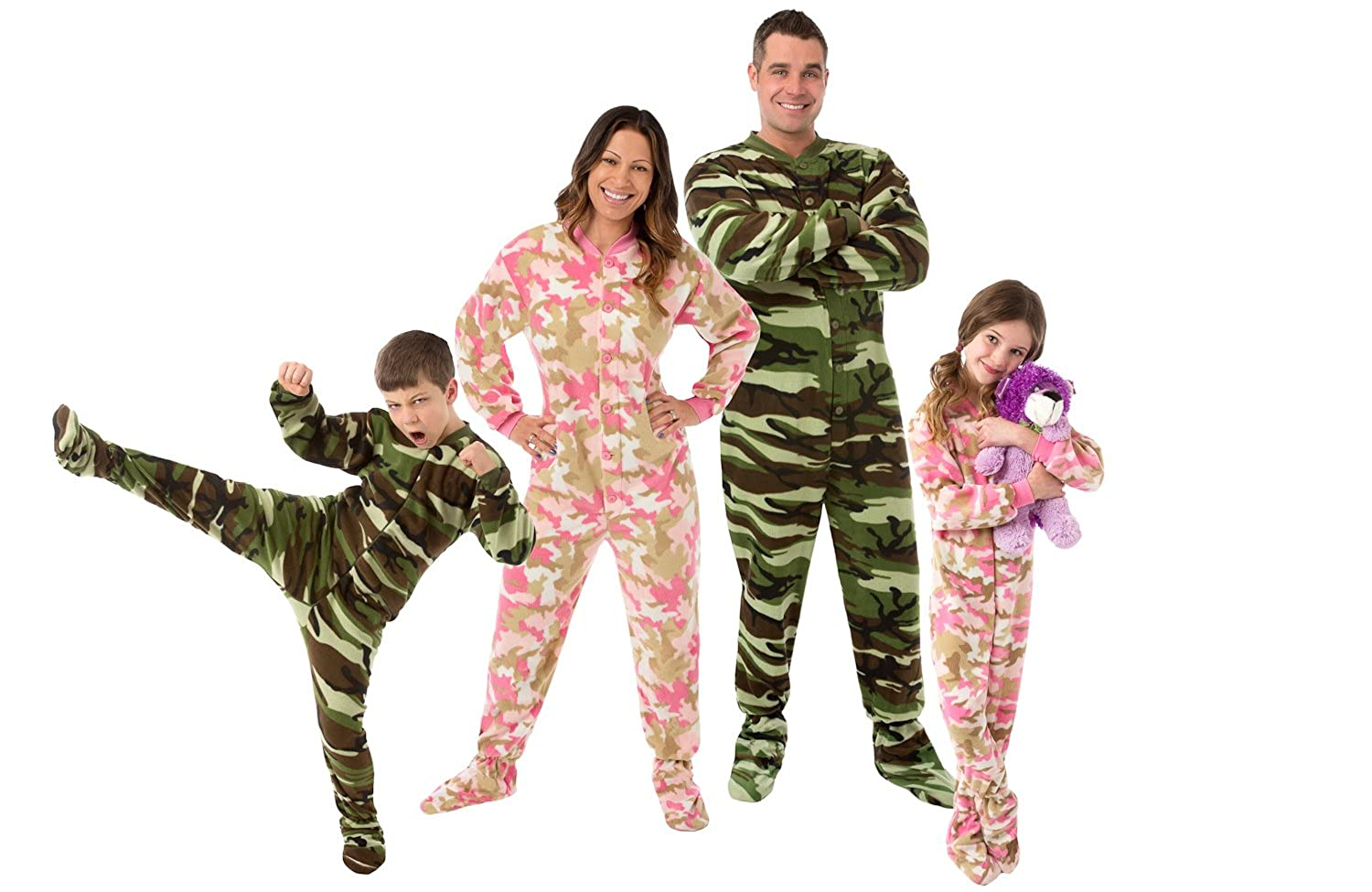 Amazon.com: Big Feet Pjs Kids Green Camo Fleece Boys Footed Pajamas Onesie Sleeper: Clothing