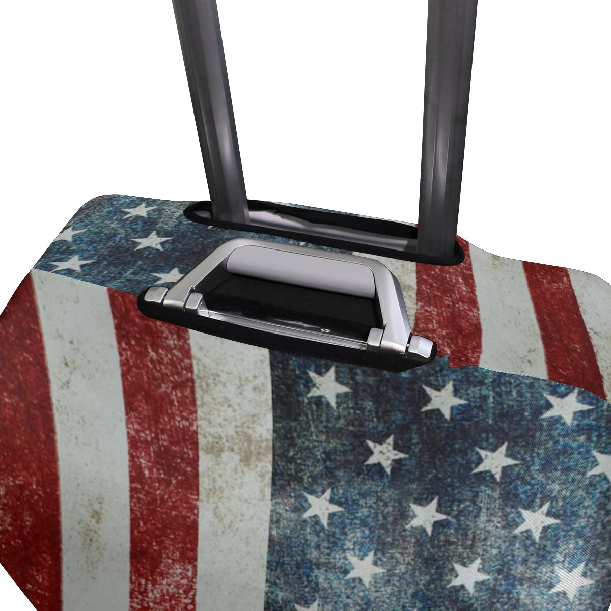 Luggage Protective Covers with Vintage USA Flag Washable Travel Luggage Cover 18-32 Inch