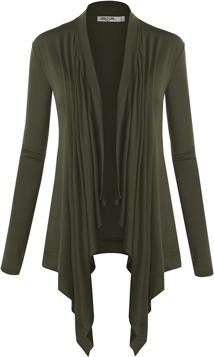 Lock and Love Womens Basic Draped Long Sleeve Open Front Knit Cardigan S XXXL Plus Size