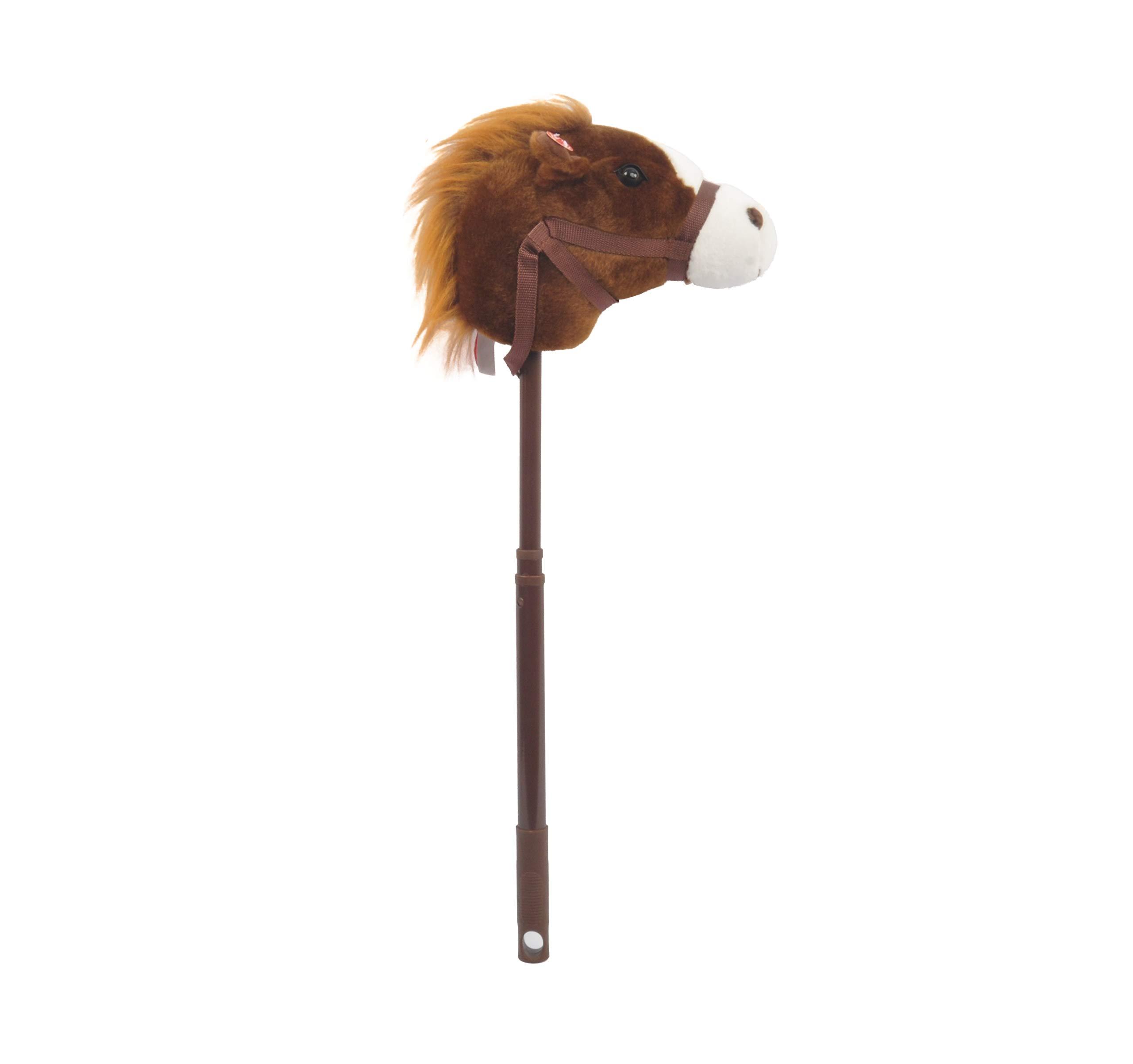 Linzy Plush Adjustable Horse Stick with Sound, Dark Brown, 36''