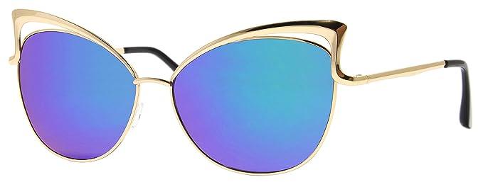 Cheapass Gafas de Sol Doradas Ojo de Gato Azules Espejadas ...