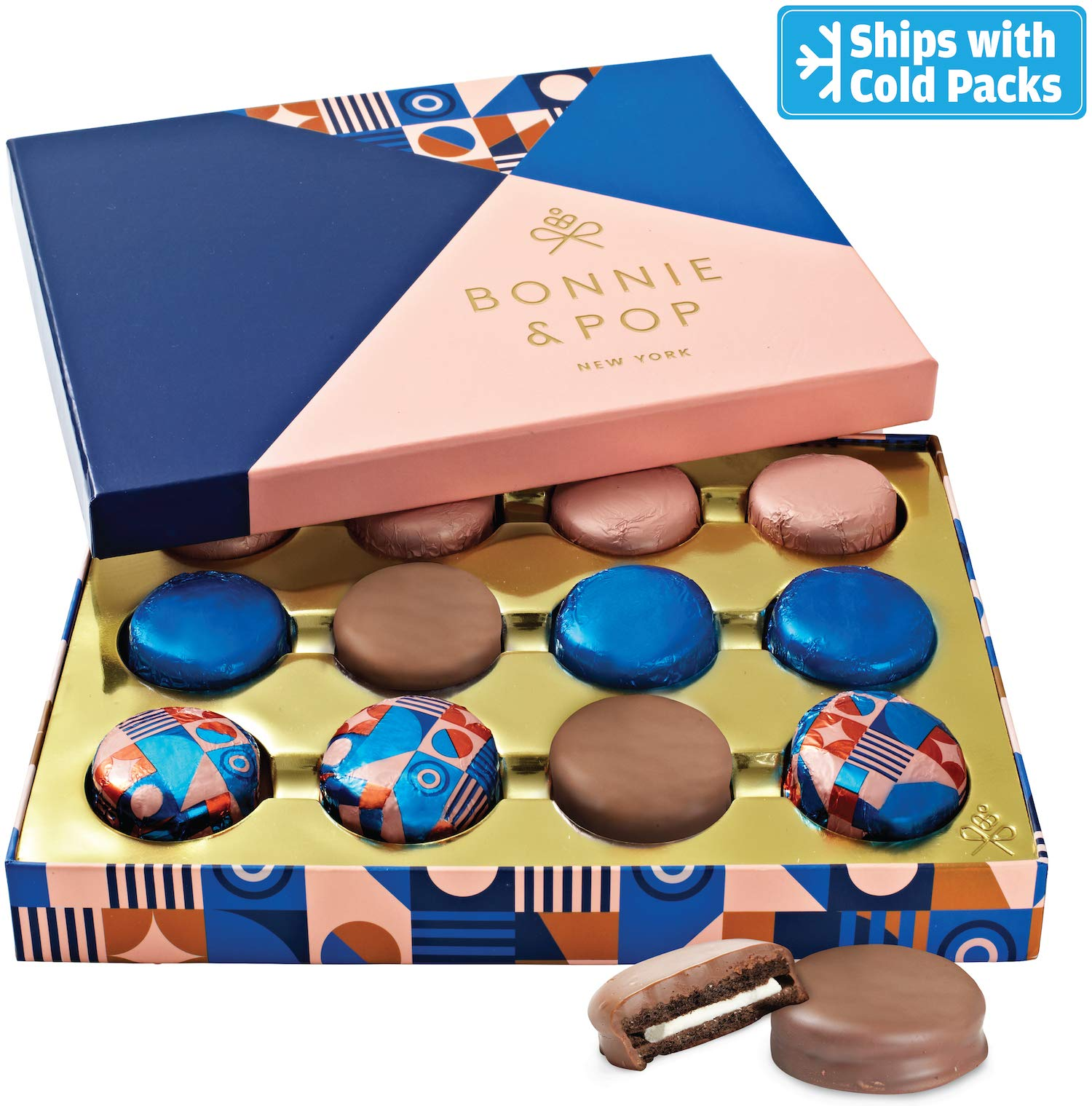 Bonnie & Pop's Chocolate Cookies Gift Basket, Gift Box Assortment, Dark, Milk and Dairy Chocolate, Gift Box, Holiday Food Sandwich Cookies, Prime Christmas Elegant Box Gifts for Women and Men
