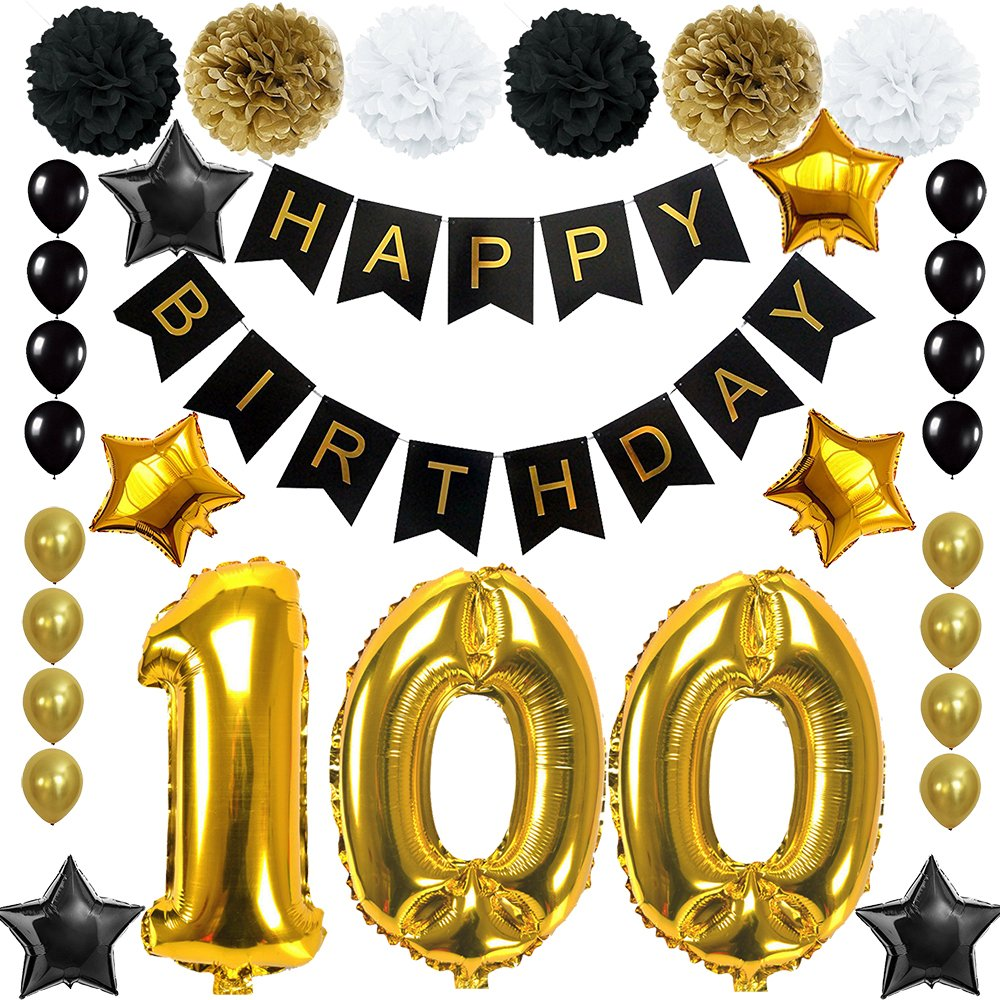 Happy 100th Birthday Banner Ballons Set for 100 Years Old Birthday Party Decoration Supplies Gold Black (100)