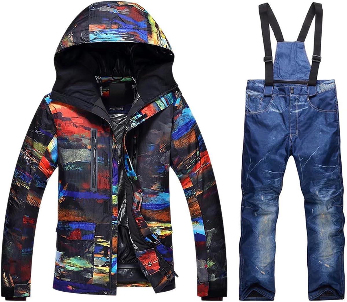 OLEK Womens High Waterproof Windproof Technology Colorful Snowboarding Jacket Ski Pants Set