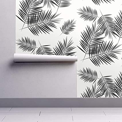 Peel And Stick Removable Wallpaper Black White Palm Leaf
