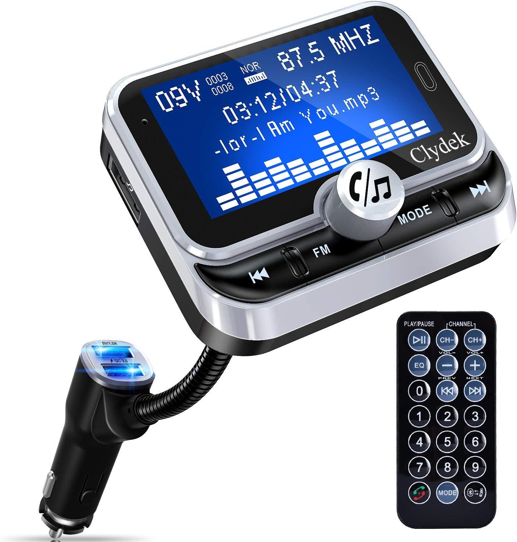 Bluetooth Fm Transmitter Auto Clydek Car Charger Adapter Mit 1 8 Zoll Display Und Fernbedienung 4 Musikwiedergabemodi Qc3 0 Schnellladegerät Freisprechfunktion Aux Eingang Und Ausgang Navigation