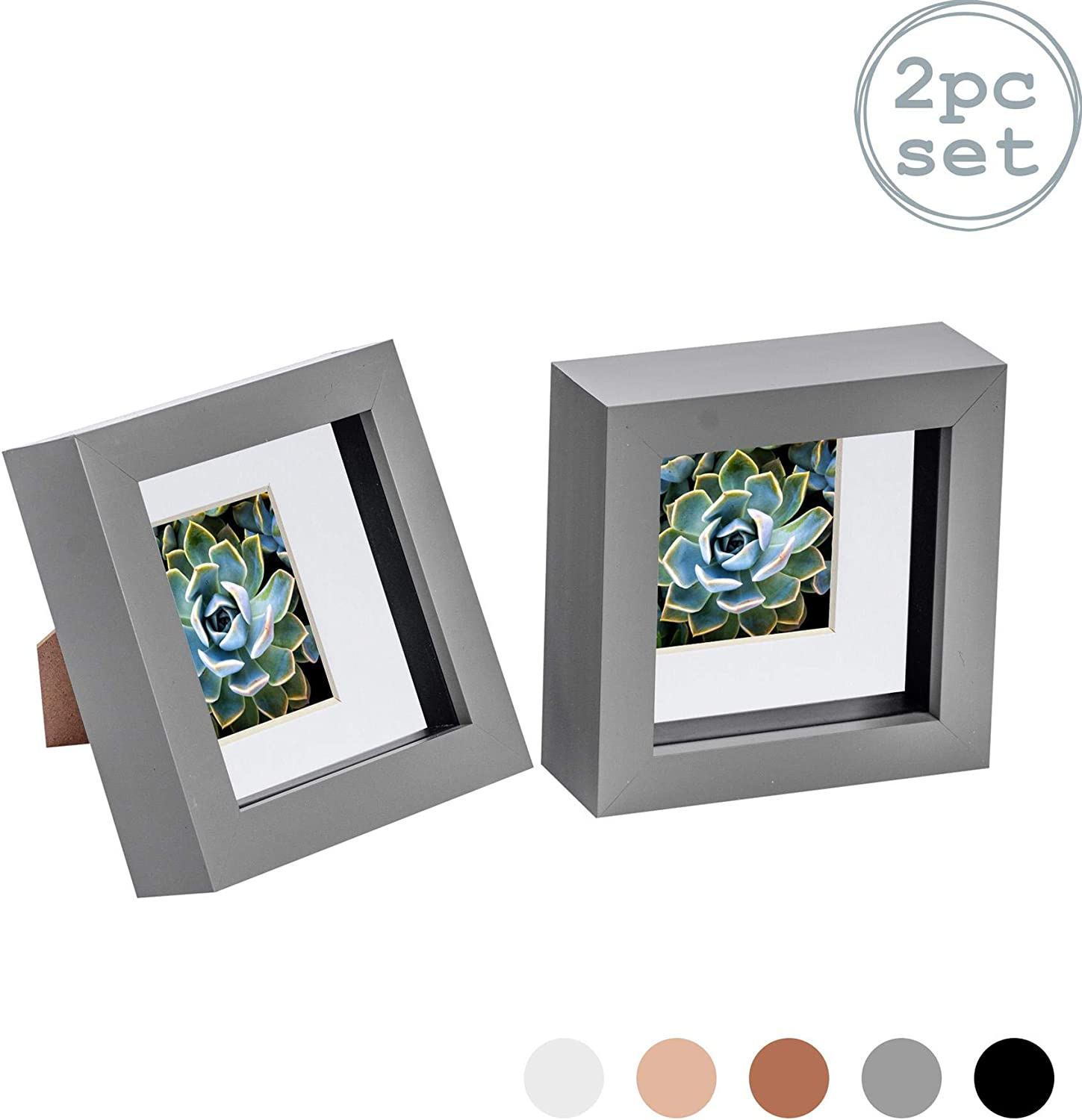 Box Picture Frame Deep 3D Photo Display 4x4 Inch Standing Hanging Black x2