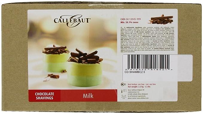 Callebaut - Virutas de Chocolate con Leche (shavings) 2,5kg: Amazon.es: Alimentación y bebidas