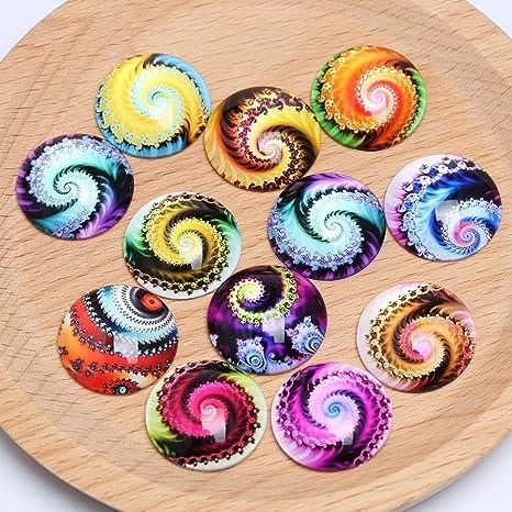 Round Photo Glass Cabochon Mixed Pattern Cameo Jewelry Flatback 10-16mm 50pcs