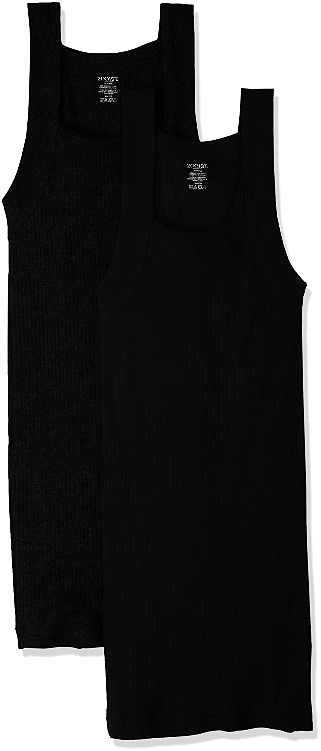 2(X)IST Men's Essential Cotton Square Cut Tank Top Multipack