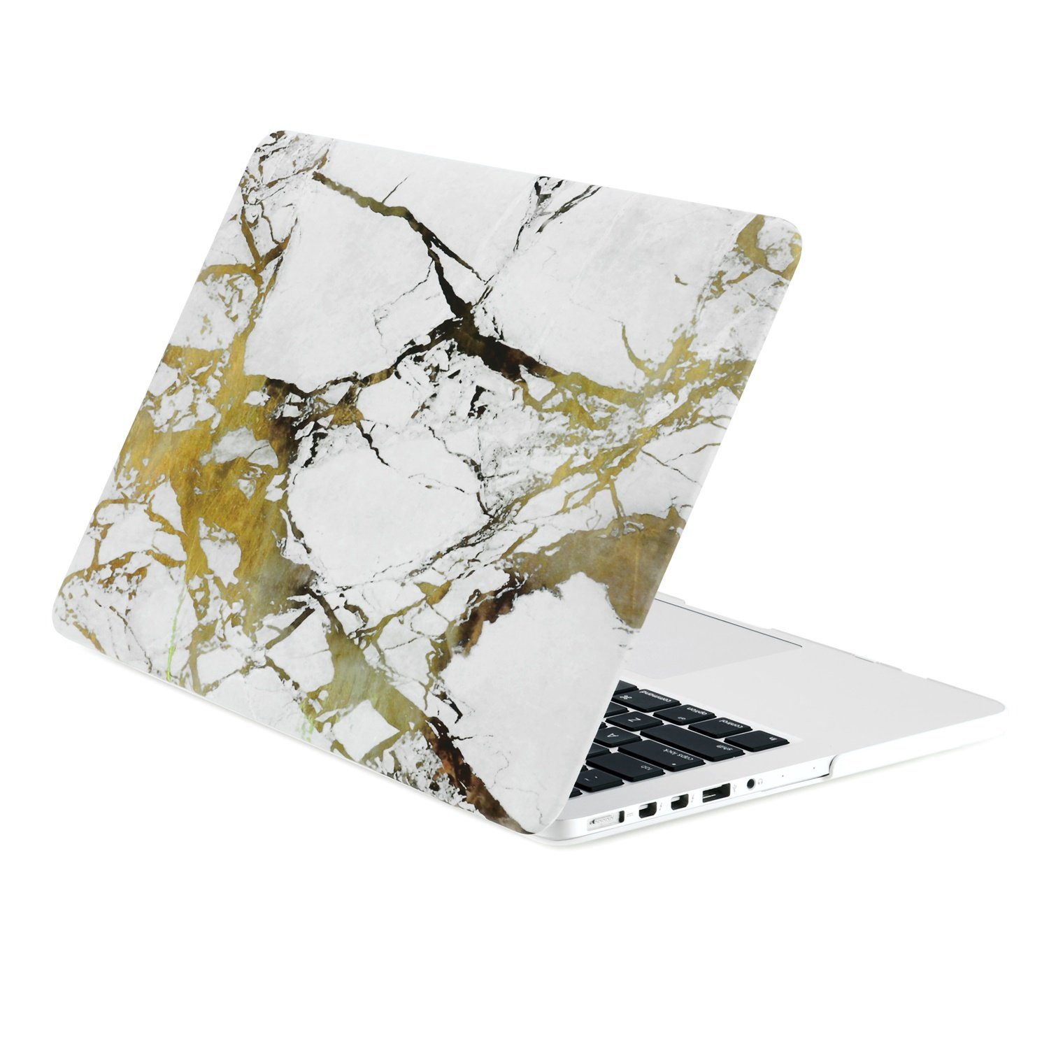 purchase cheap 71d41 503f6 TOP CASE - White/Gold Marble Rubberized Hard Case Compatible with Apple  MacBook Pro 13