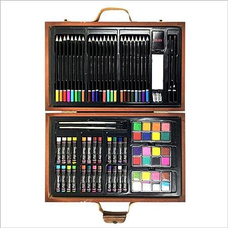 Set de Lapices de Color Caja de madera estupenda para niños - Conjuntos de pintura y dibujo - Ilustraciones en estuche negro que incluyen acuarelas, crayones, marcadores de colores, lápices de colores: