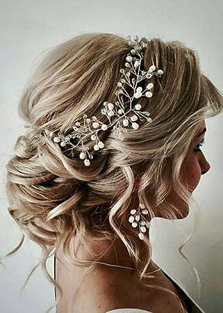 FXmimior Bridal Rose Gold Leaf Headband Earrings