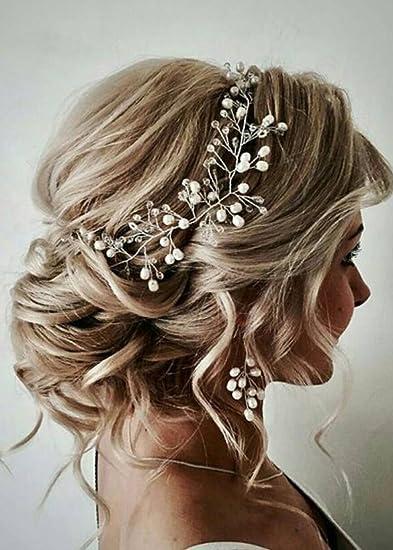 Amazon.com   FXmimior Bride Hair Accessories Crystal Hair Vine Earrings  Sets Headband Wedding Hair Comb Evening Party Hair Piece (silver) (headband  ONLY)   ... cd0889ad1a04