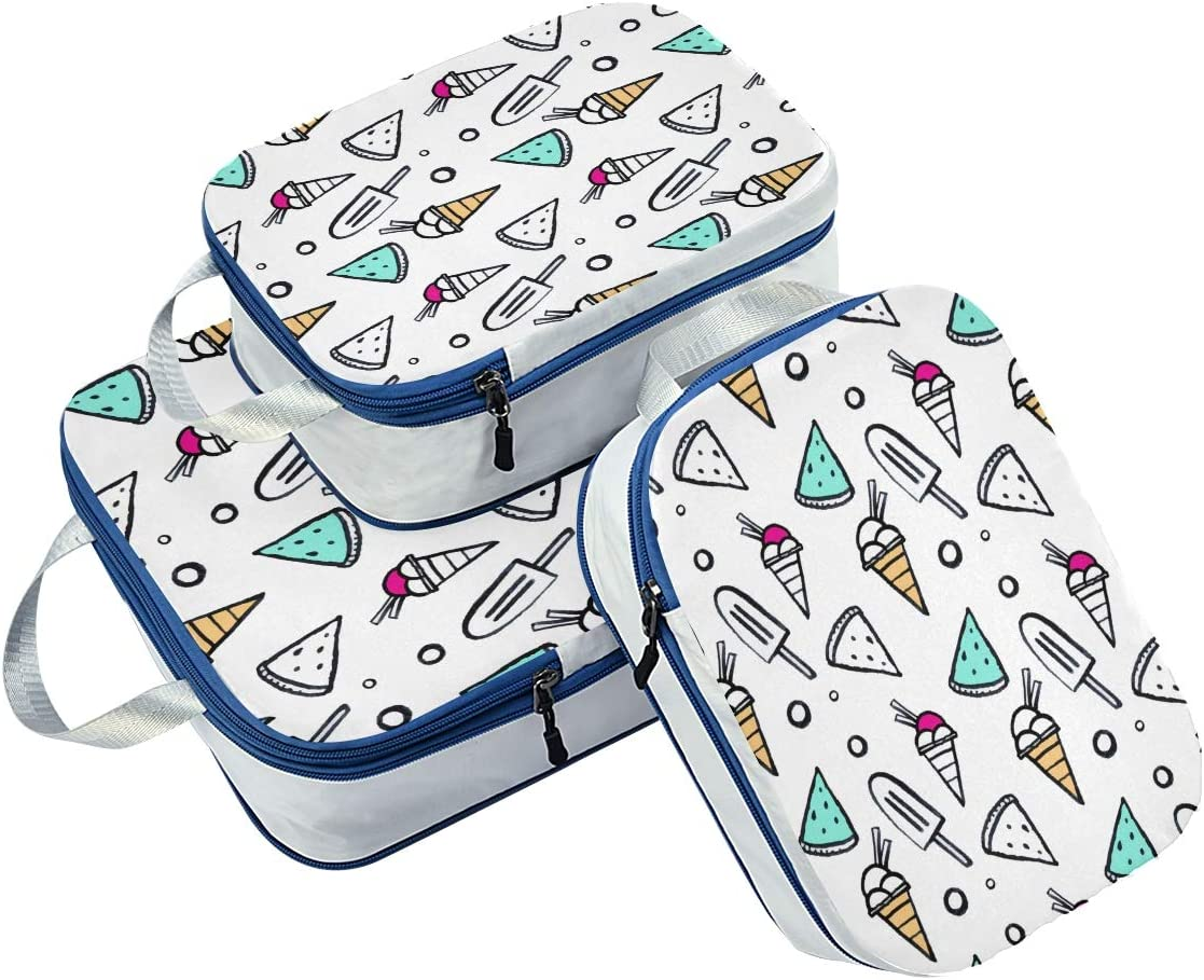 Ice Cream And Watermelon 3 Set Packing Cubes,2 Various Sizes Travel Luggage Packing Organizers r