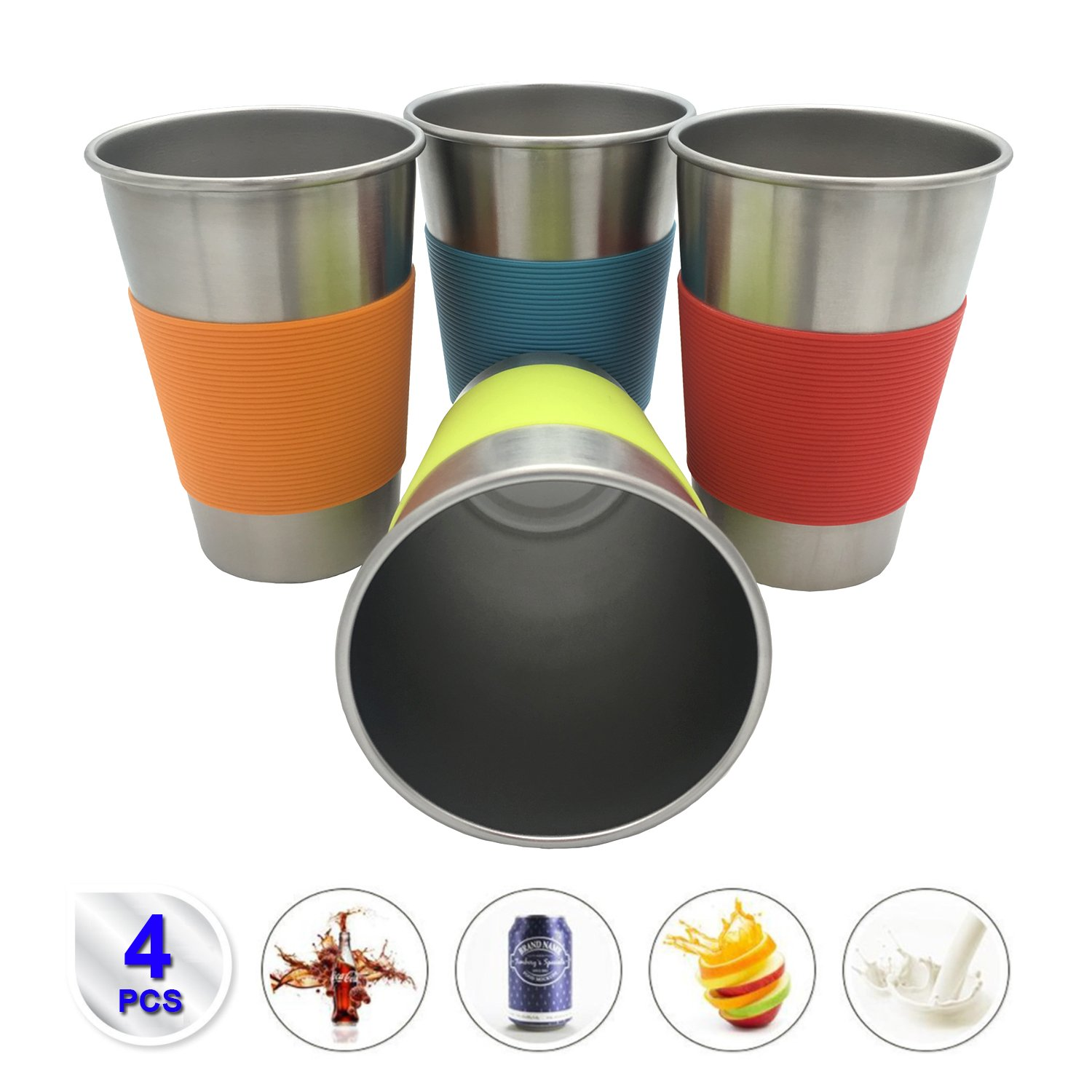 Stainless Steel 17 oz Pint Cup with Sleeves (4 Pack)-Unbreakable, Stackable,Premium Metal Drinking Glasses for Travel, Outdoor, & Everyday