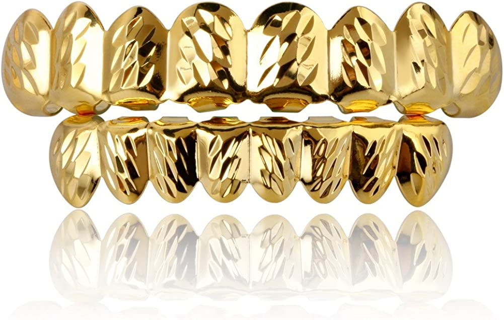 TOPGRILLZ 18K Gold Plated Hip Hop Rugged 8 Teeth TOP and Bottom Grillz for Your Teeth Set for Men and Women