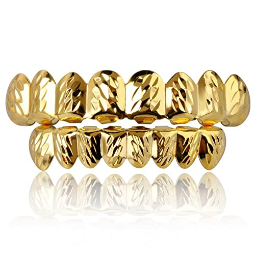 Amazon.com  18K Gold Plated Hip Hop Diamond Cut Rugged 8 Teeth TOP and Bottom  Grillz Set (Gold)  Jewelry c25539209