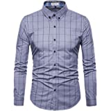 MUSE FATH Mens Long Sleeve Plaid Classic Shirt-Easycare 100% Cotton Shirt