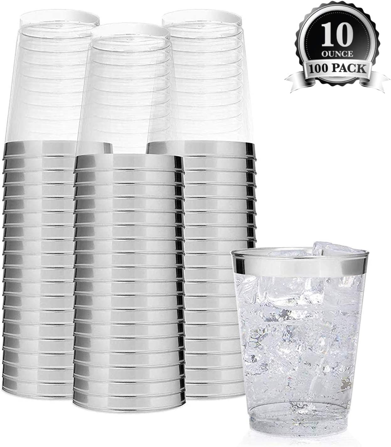 Elegant Silver Rimmed 10 Oz Clear Plastic Cups (100 Pack) Fancy Disposable Party Cups - Silver Plastic Tumblers for Weddings, Parties and Everyday Use