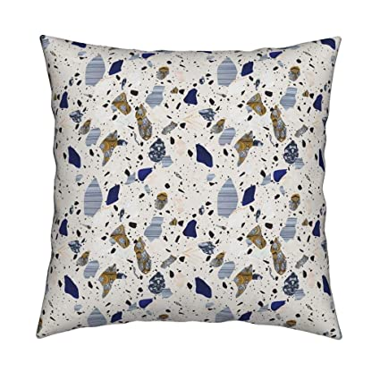 Amazon com: Roostery Blue and Gray Terrazzo Linen Cotton