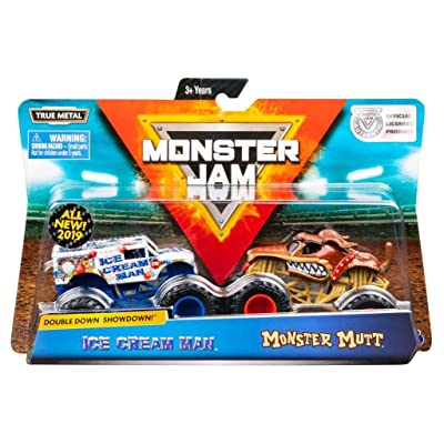 Monster Jam, Official Ice Cream Man vs. Monster Mutt Die-Cast Monster Trucks, 1:64 Scale, 2 Pack: Toys & Games