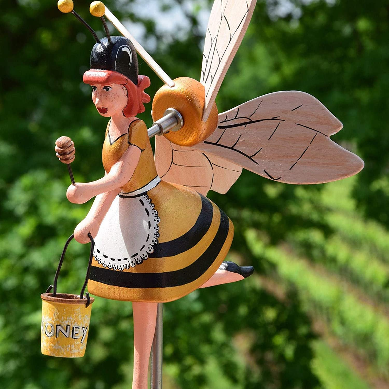 Qvhakaiu Miss Bee Garden Art Wind Spinners Pinwheels Windmills Whirlygigs for Yard Garden Decorations, Outdoor Lawn Patio Windmills Ornaments Wind Sculptures & Spinners