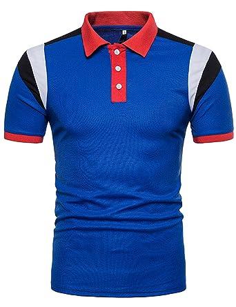 Polo Homme Manche Courte Rugby Décontracté Sportif Poloshirt Contrastant Mailot de Golf Rouge L loCZ4